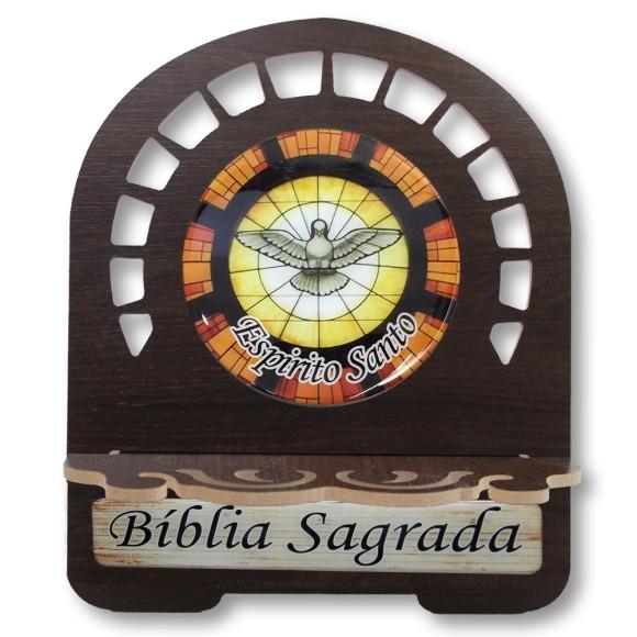 PB812900 - Porta Bíblia Divino Espírito Santo MDF Resinado - 30,5x25,5cm