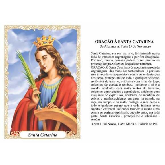 OP14008P100 - Oração Santa Catarina c/ 100un. - 6x4cm