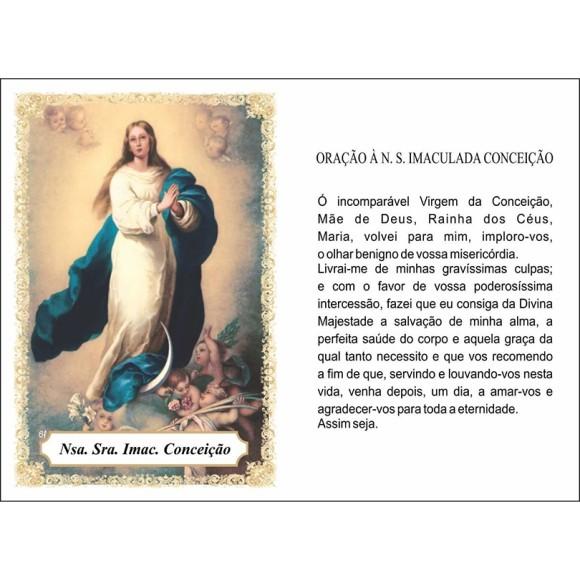 OP14010P100 - Oração Imaculada Conceição c/ 100un. - 6x4cm