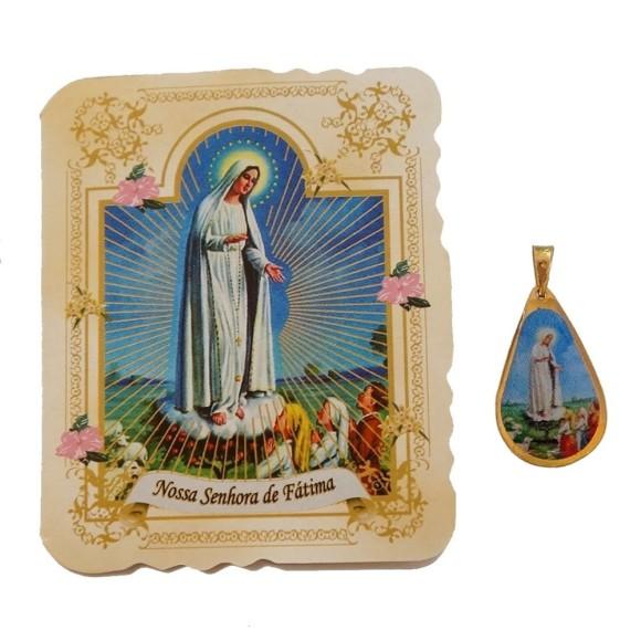 CM14005 - Cartão N. Sra. de Fátima c/ Medalha - 7,5x6cm