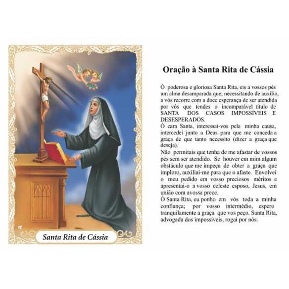 OP14030P100 - Oração Santa Rita de Cássia c/ 100un. - 6x4cm