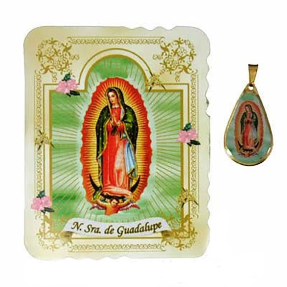 CM14006 - Cartão N. Sra. de Guadalupe c/ Medalha - 7,5x6cm