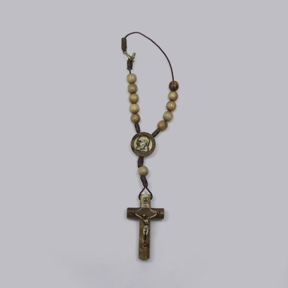 DZ610225 - Dezena São Padre Pio de Pietrelcina c/ Fecho (Proteção para Carro) - 22x3,5cm