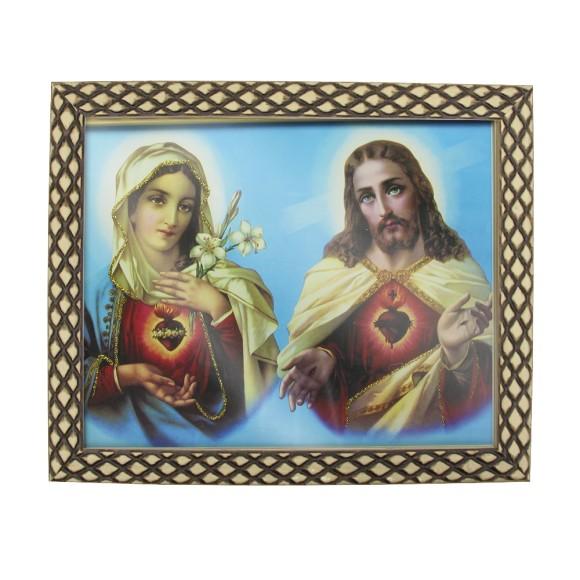 QD91521 - Quadro Moldura Sagrado Coração de Jesus e Maria - 23x28cm