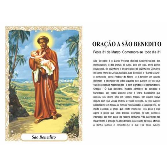 OP141401P100 - Oração São Benedito c/ 100un. - 6x4cm