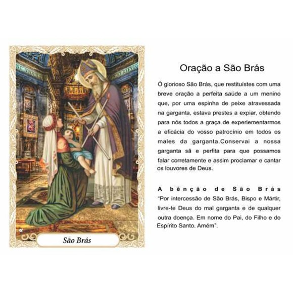 OP141403P100 - Oração São Brás c/ 100un. - 6x4cm