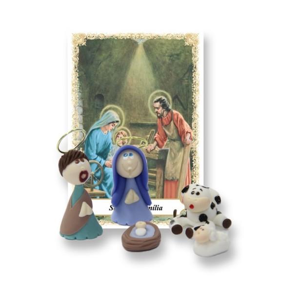 IM32020 - Santinho de Biscuit c/ Oração Pequena Sagrada Família (Presépio)