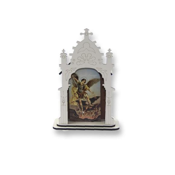 OT810203 - Oratório São Miguel Arcanjo MDF Branco - 12x8cm