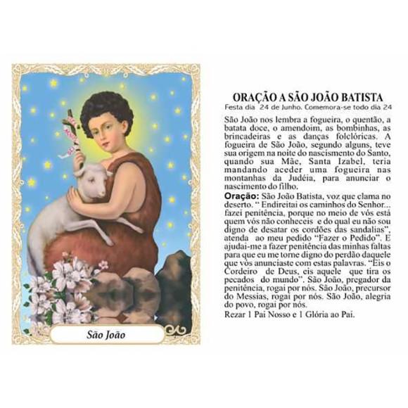 OP141415P100 - Oração São João Batista c/ 100un. - 6x4cm
