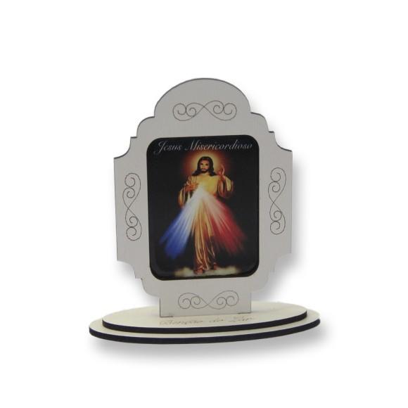 AO290102 - Pedestal Jesus Misericordioso MDF Branco - 12x11cm