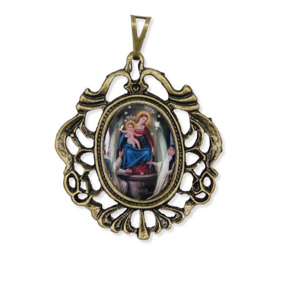 MD129222 - Medalha N. Sra. Do Rosário Camafeu Ouro Velho - 5,5x4,2cm
