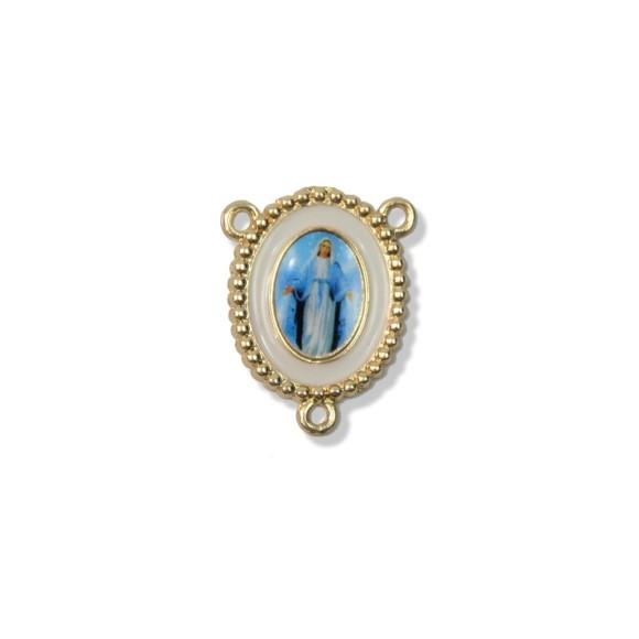 ET1620045 - Entremeio N. Sra. Das Graças Dourado Resinado. - 2,7x2,2cm
