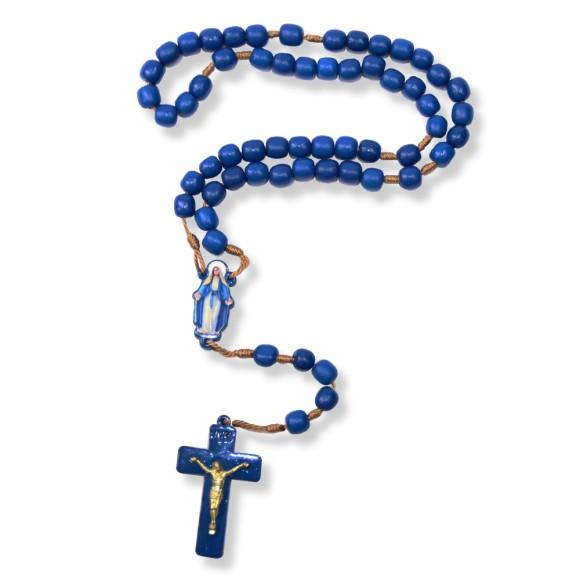 TE560003 - Terço das Mulheres N. Sra. Das Graças Madeira Azul - 39cm