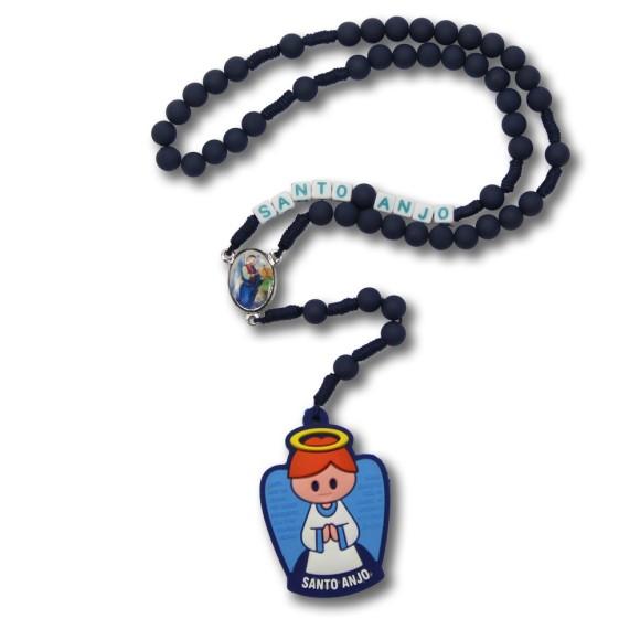 TE1133801 - Terço Anjo da Guarda Emborrachado Azul Marinho (c/ Nome) - 37cm