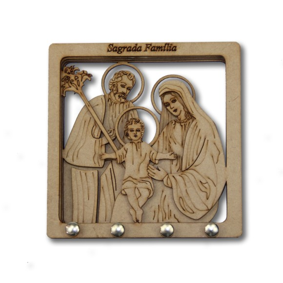 PC381001 - Porta Chaves Sagrada Família MDF  - 14,7x14,7cm