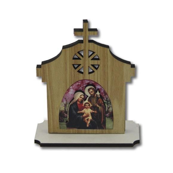 CP81170 - Capela  Sagrado Família MDF - 14x7cm