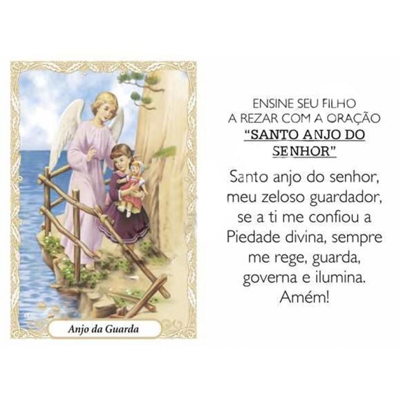 OP41801P100 - Oração Santo Anjo c/ 100un. - 6x4cm