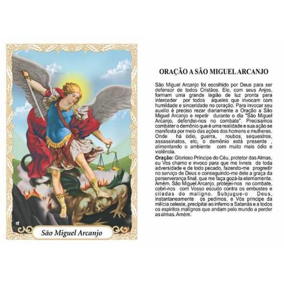 OP41803P100 - Oração São Miguel Arcanjo c/ 100un. - 6x4cm