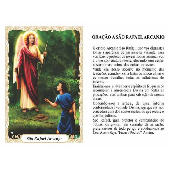 OP41804P100 - Oração São Rafael Arcanjoc/ 100un. - 6x4cm