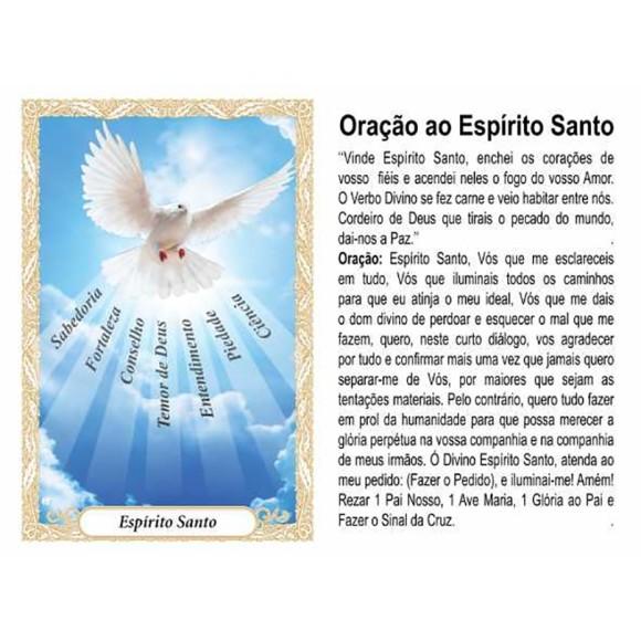 OP41805P100 - Oração Espírito Santo 7 Dons Azul c/ 100un. - 6x4cm