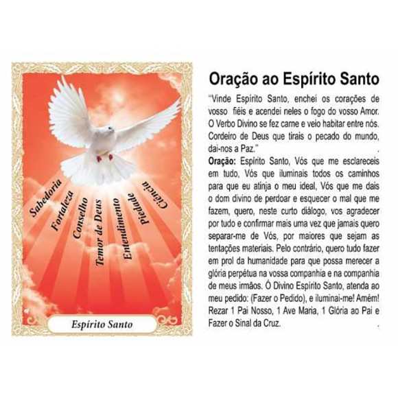 OP41806P100 - Oração Espírito Santo 7 Dons Vermelho c/ 100un. - 6x4cm