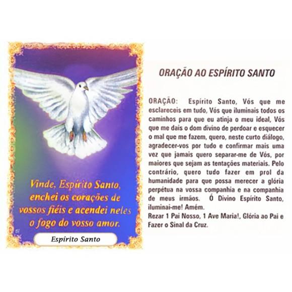 OP41807P100 - Oração Espírito Santo Azul c/ 100un. - 6x4cm