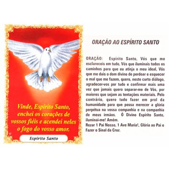 OP41808P100 - Oração Espírito Santo Vermelho c/ 100un. - 6x4cm