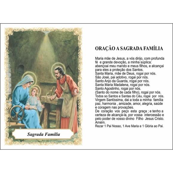 OP41809P100 - Oração Sagrada Familia c/ 100un. - 6x4cm