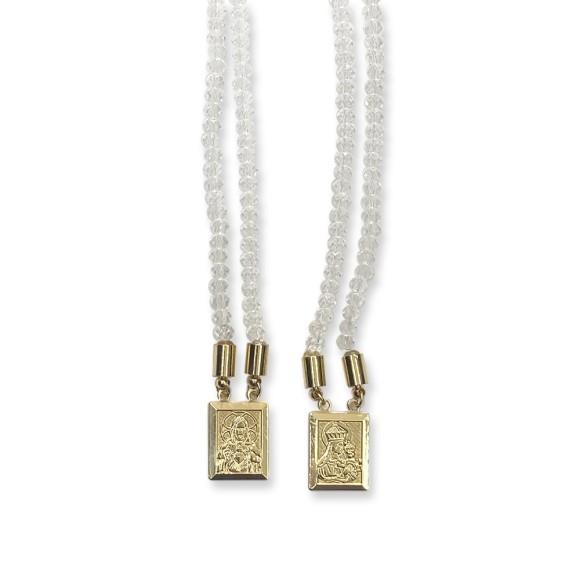 ES1710300 - Escapulário N. Sra. Do Carmo e Sag. Coração de Jesus Cristal Transparente - 39x1,4cm
