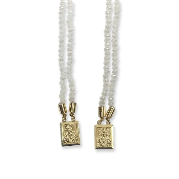 ES1710301 - Escapulário N. Sra. Do Carmo e Sag. Coração de Jesus Cristal Branco - 39x1,4cm