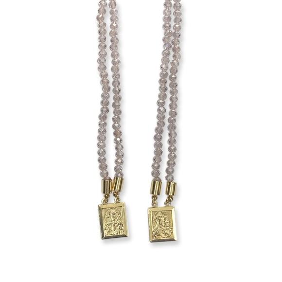 ES1710310 - Escapulário N. Sra. Do Carmo e Sag. Coração de Jesus Cristal Lilás Claro - 39x1,4cm