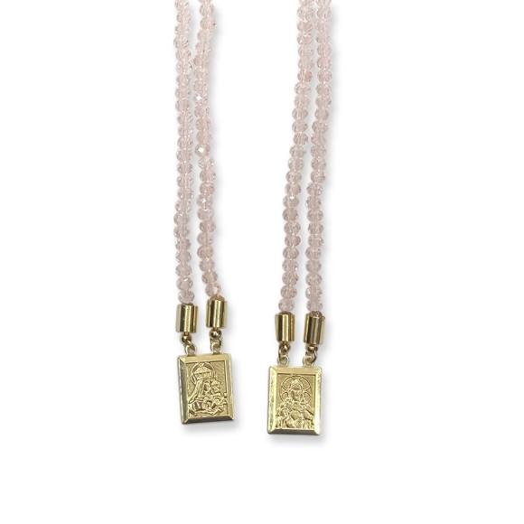 ES1710308 - Escapulário N. Sra. Do Carmo e Sag. Coração de Jesus Cristal Rosa - 39x1,4cm