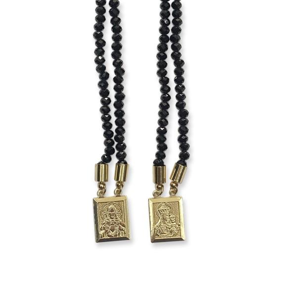 ES1710305 - Escapulário N. Sra. Do Carmo e Sag. Coração de Jesus Cristal Preto - 39x1,4cm