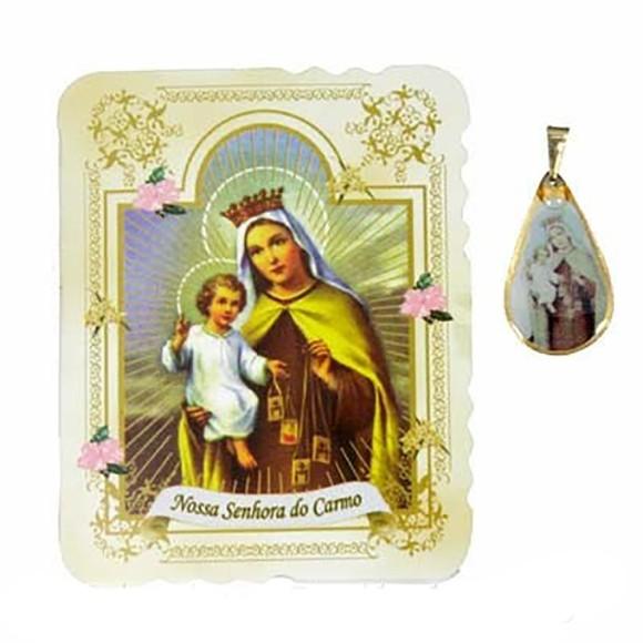 CM14010 - Cartão N. Sra. do Carmo c/ Medalha - 7,5x6cm