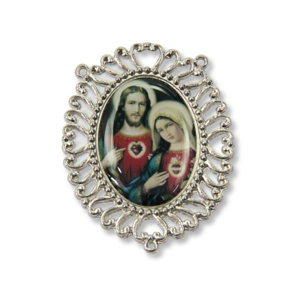 ET1692800 - Entremeio Sagrado Coração De Jesus e Maria Resinado - 6x5cm