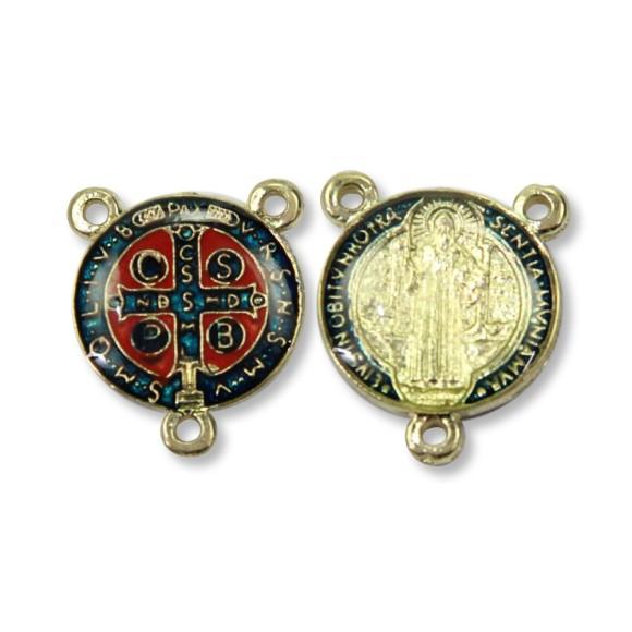 ET1630021P2 - Entremeio Medalha de São Bento Dourado Resinado c/ 2un. - 2x1,8cm