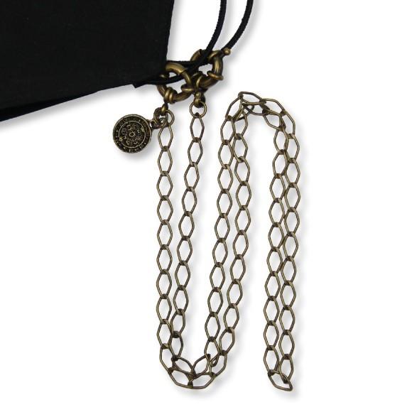 MM1338060 - Corrente Para Máscara Medalha De São Bento Ouro Velho - 63x1,3cmm