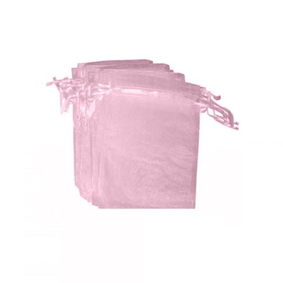 EM9614P12 - Saco de Organza Rosa c/ 12un. 7x9cm