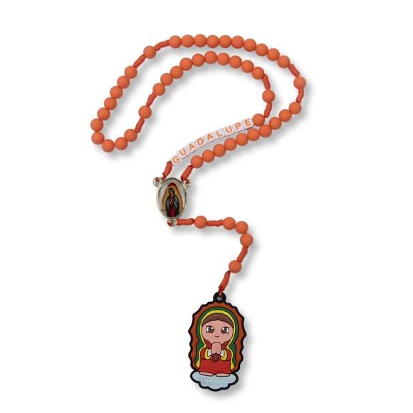TE1133001 - Terço N. Sra. De Guadalupe Emborrachado Laranja (c/ Nome) - 37cm