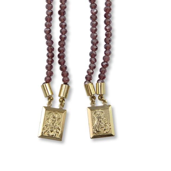 ES1710312 - Escapulário N. Sra. Do Carmo e Sag. Coração de Jesus Cristal Lilás - 39x1,4cm