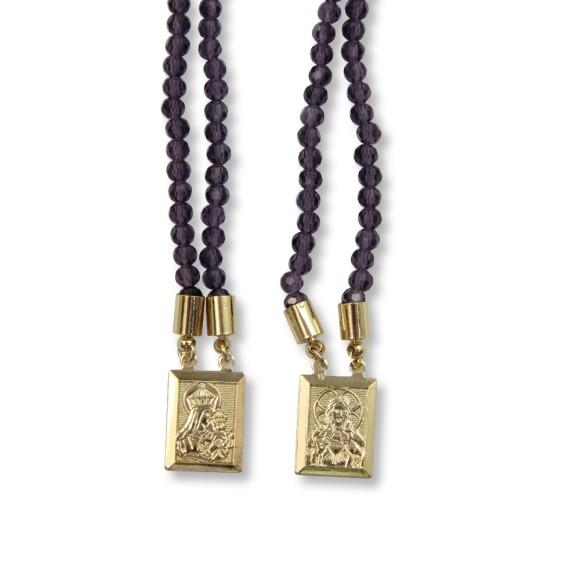 ES1710314 - Escapulário N. Sra. Do Carmo e Sag. Coração de Jesus Cristal Roxo - 39x1,4cm