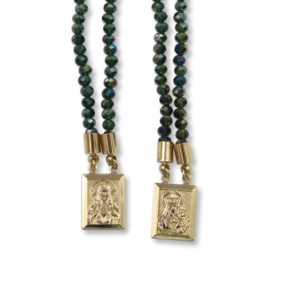 ES1710317 - Escapulário N. Sra. Do Carmo e Sag. Coração de Jesus Cristal Verde Furta-cor - 39x1,4cm