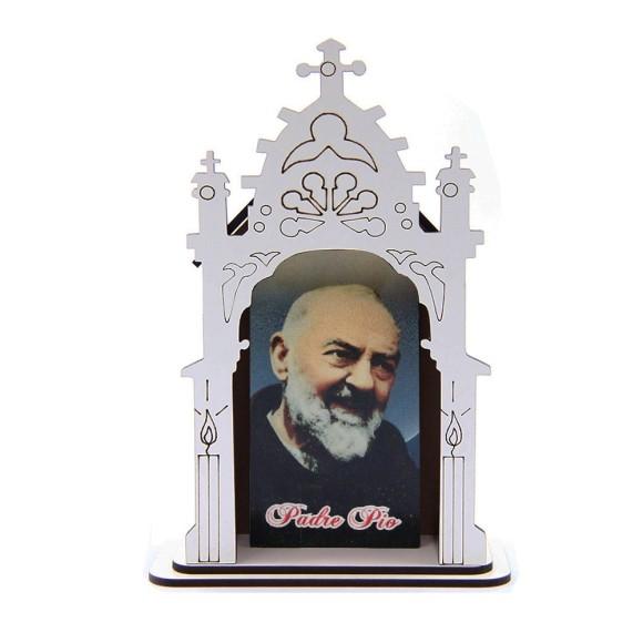 OT811102 - Oratório São Padre Pio De Pietrelcina MDF Branco - 17x11,7cm