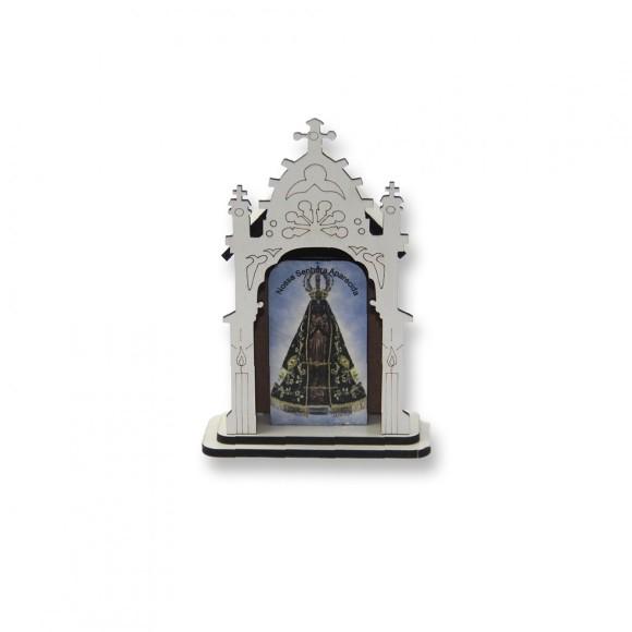 OT810006 - Oratório N. Sra Aparecida MDF Branco - 12x8cm