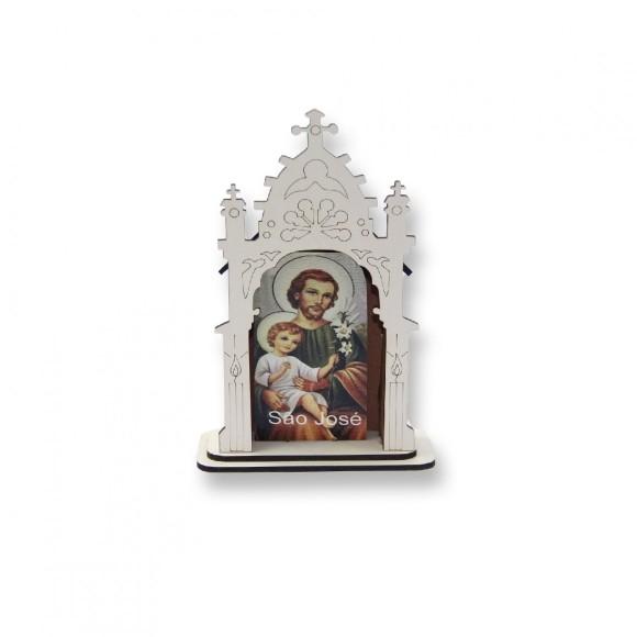 OT810103 - Oratório São José MDF Branco - 12x8cm