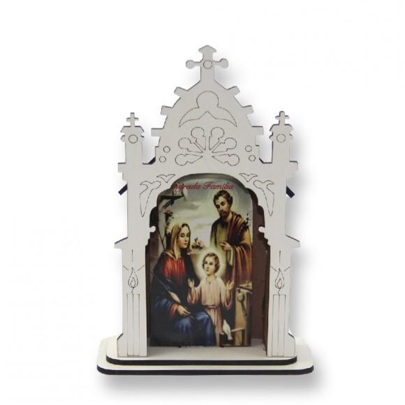 OT811200 - Oratório Sagrada Família MDF Branco - 17x11,7cm