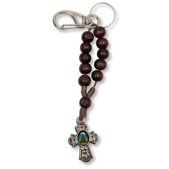 AS1390001 - Chaveiro N. Sra. Aparecida e Sagrado Coração De Jesus Dezena Madeira - 15x2,5cm