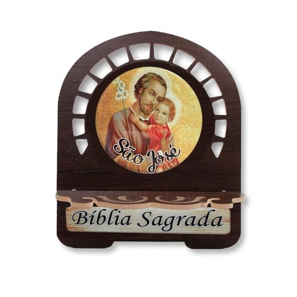 PB810560 - Porta Bíblia São José MDF Resinado - 22x17,5cm
