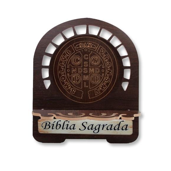 PB810750 - Porta Bíblia São Bento MDF Resinado - 22x17,5cm