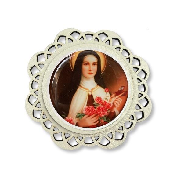 IA81112 - Imã Santa Terezinha Das Rosas MDF Resinado - 7,5x7,5cm